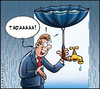 Cartoon: Economy - water (small) by Carayboo tagged water,eau,tab,rain,umbrella,pollution,economy,nature,evironement,faucet,man,world,planet,storm,recuperation