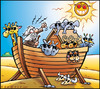 Cartoon: Heat wave Canicule (small) by Carayboo tagged heat,wave,sun,winter,summer,sky,cloud,nature,sand,vacances,holiday,boat,arche,noe,noah,ark,shine,desert,smile,bible,warming,global,evironment