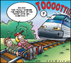 Cartoon: Train frequence (small) by Carayboo tagged train,frequence,station,law,rail,demand,speed,ticket,route,trip,shuttle,journey