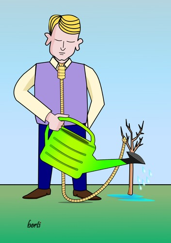 Cartoon: Geduld (medium) by berti tagged grow,tree,giessen,wachsen,baum,hang,suicide,hängen,selbstmord
