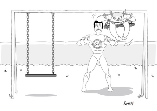 Cartoon: Not-So-Super-Man (medium) by berti tagged inkscape,swing,schwung,spielen,schaukel,superman