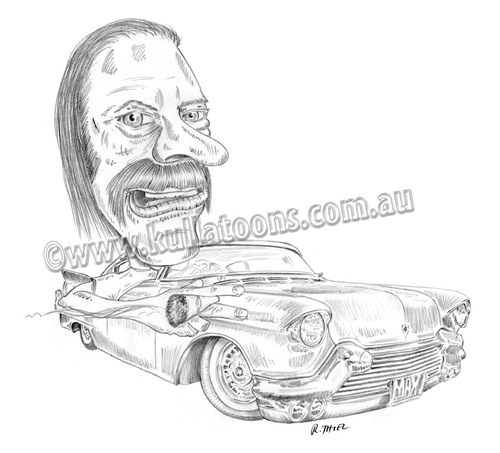 Cartoon: Max and his Cadillac (medium) by kullatoons tagged caricature,car,cadillac,vehicle