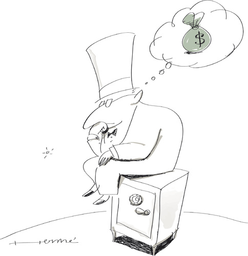 Cartoon: Le Pensateur (medium) by Herme tagged banker,businesses,money
