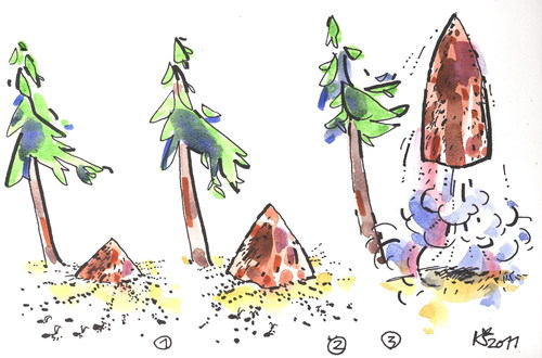 Cartoon: EVOLUTION (medium) by Kestutis tagged anthill,nature,space,surprise,mind,wald,ameisenhaufen