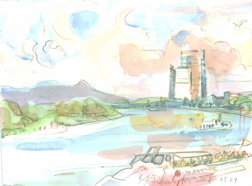 Cartoon: GERMANY. BOON. RHEIN (medium) by Kestutis tagged sketch,watercolor,rhein,boon,germany,deutschland