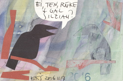 Cartoon: Hey maybe in the fog hotter? (medium) by Kestutis tagged lithuania,kestutis,fog,nature,forecast,weather,crow,today,vilnius,postcard,dada