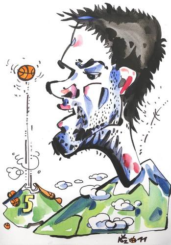 Cartoon: Mantas Kalnietis (medium) by Kestutis tagged lithuania,kestutis,sport,basketball