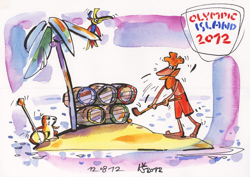 Cartoon: OLYMPIC ISLAND. Closing (medium) by Kestutis tagged kestutis,summer,2012,london,ceremony,closing,sport,palm,ocean,island,olympic,siaulytis,lithuania,desert