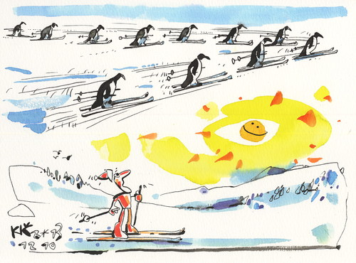 Cartoon: Olympic Winter has come (medium) by Kestutis tagged sun,skiing,lithuania,kestutis,2014,sochi,snow,bird,nature,sports,penguins,come,has,winter,olympic