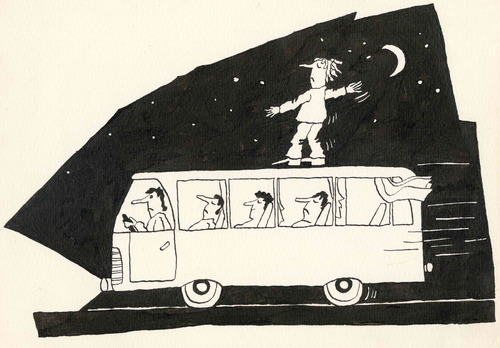 Cartoon: Schlafwandler. Sleepwalker (medium) by Kestutis tagged lithuania,kestutis,bus,night,schlafwandler,somnambulist,sleepwalker