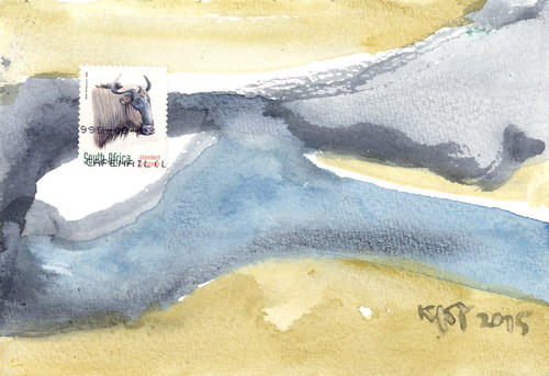 Cartoon: South Africa 1 (medium) by Kestutis tagged abstract,lithuania,kestutis,nature,postcard,dada,africa,landscape,philosophy