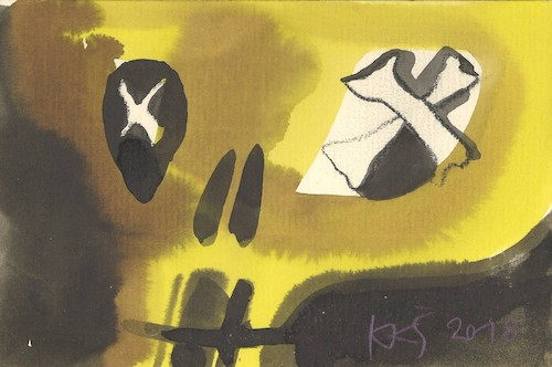 Cartoon: Visual art anarchy (medium) by Kestutis tagged visual,art,anarchy,dada,postcard,kestutis,lithuania