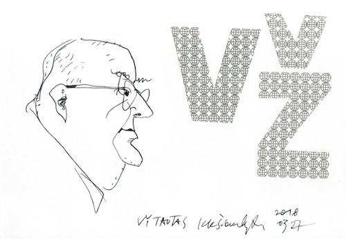 Cartoon: Vytautas Zeimantas (medium) by Kestutis tagged sketch,kestutis,lithuania