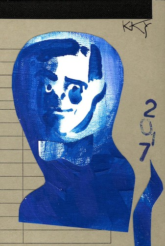 Cartoon: Yves Klein (medium) by Kestutis tagged yves,klein,art,kunst,dada,blue,postcard,kestutis,lithuania