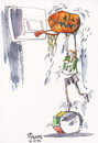Cartoon: BASKETBALLER NIGHTMARE (small) by Kestutis tagged basketball,nightmare,pumpkin,london,2012,olympics,summer,trommeln,drum,sport,halloween,fan,lithuania,kestutis,siaulytis