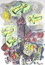 Cartoon: FUNNY NIGHT (small) by Kestutis tagged night,ghost,happening,conviviality,feast,adventure
