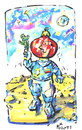 Cartoon: GREETINGS FROM MOON! (small) by Kestutis tagged happy,new,year,moon,mond,greetings,space,astronaut,cosmonaut
