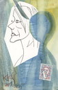 Cartoon: Listening to Edith Piaf (small) by Kestutis tagged dada,postcard,listening,music,song,france,edith,piaf,sketch,kestutis,lithuania