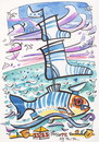 Cartoon: Marine fish swim to Santa Claus (small) by Kestutis tagged fish santa claus christmas weihnachten nature xmas kestutis meer sea sailor sail wind