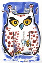 Cartoon: NIGHT OWL - COFFEE OWL (small) by Kestutis tagged peace frieden coffee eule owl maus night happy new year