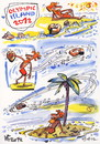 Cartoon: OLYMPIC ISLAND. Discus throw (small) by Kestutis tagged discus,throw,olympic,island,desert,london,2012,summer,kestutis,siaulytis,lithuania,sun,palm,ocean,comic,comics,strip,music,disc,myron,discobolus,mussel