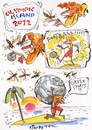 Cartoon: OLYMPIC ISLAND. Greek Sports (small) by Kestutis tagged greek sports london 2012 summer greece football desert island olympic ocean sun kestutis siaulytis lithuania comic globe soccer hercules myth wasp earth sphere comics strip