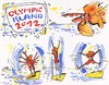 Cartoon: OLYMPIC ISLAND. Gymnastics (small) by Kestutis tagged gymnastics bird vogel olympic island london 2012 summer tourists sport desert kestutis siaulytis lithuania ocean palm penguin comic comics insel athletics strip iceberg