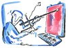 Cartoon: PAINTING AND MUSIC (small) by Kestutis tagged painting,music,art,kunst,malerei