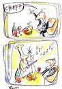 Cartoon: PIZZA AND MUSIC (small) by Kestutis tagged pizza music cook chief string scores wine restaurant tavern
