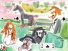 Cartoon: Three friends (small) by Kestutis tagged friend,cards,kestutis,lithuania,dada,kunst,art,valentinstag,watercolor,love,valentine,aquarell,western,cowboy,man,woman