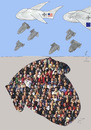 Cartoon: violent immigration (small) by Zoran tagged realpolitik,war,bombing,suffering,migration