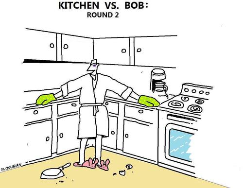 Cartoon: cooking and stuff (medium) by ouzounian tagged cooking,boxing,ring,ko,kitchens