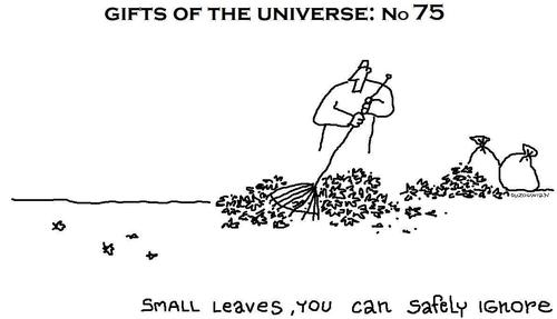 Cartoon: gifts of the universe series (medium) by ouzounian tagged raking,leaves,autumn,earth,existance,universe