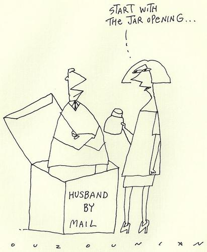 Cartoon: husbands by mail (medium) by ouzounian tagged men,women,marriage,relationships,mail,post,shopping,jars