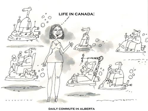 Cartoon: life in canada (medium) by ouzounian tagged commute,canada,cars
