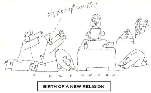 Cartoon: new religion (medium) by ouzounian tagged receptionists,religions,warship,men,women