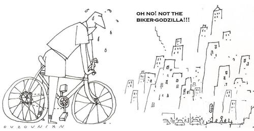 Cartoon: ouzounian (medium) by ouzounian tagged godzillas,bikes,cities
