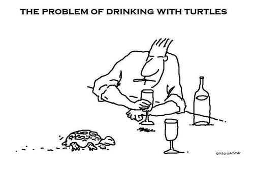 Cartoon: turtles and stuff (medium) by ouzounian tagged turtles,drinking,speed,party,company,friendship