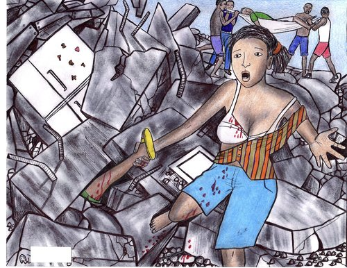 Cartoon: tragedy in Haiti (medium) by odinelpierrejunior tagged earthquake,image,ink,paintings,drawings,arts,designs