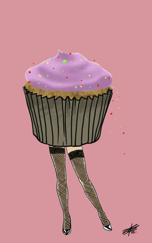 Cartoon: Burlesque Cupcake (medium) by James tagged burlesque,cupcake,food,art,illustration,drawing,sexy,stockings,fish,net,shoes,frosting,sprinkles,pink