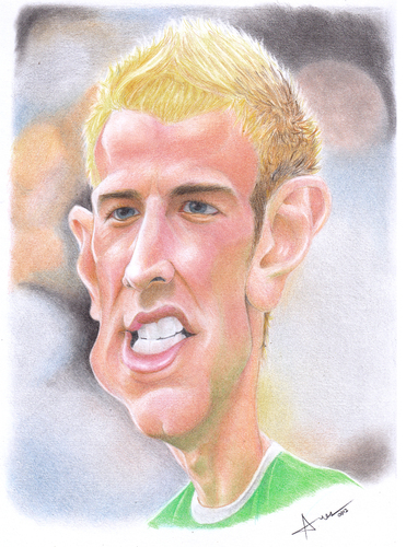 Cartoon: Joe Hart (medium) by areztoon tagged caricature,karikatur,joe,hart,goalkeeper