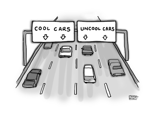Cartoon: No Changing Lanes (medium) by a zillion dollars comics tagged transportation,travel,automobile,cars,status,vehicle