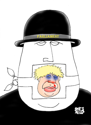Cartoon: Suspension  British parliament (medium) by Vejo tagged parlaiment,boris,johnson,dictator,freedom,of,speech,censor