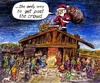 Cartoon: Santa Nativity (small) by Alan tagged santa,nativity,tintin,jesus,christmas,crowd,menschenmenge,weihnachten,krippe,schafe,sheep,chimney,gifts,bethlehem