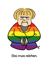 Cartoon: Das muss reichen (small) by elke lichtmann tagged merkel,cdu,rainbow,flag,homosexual,gay,lesbian,transgender,marriage