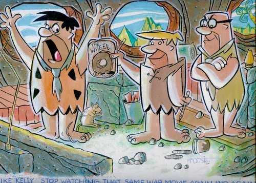 Cartoon: Flintstones with Barney Rubble (medium) by McDermott tagged flintstones,barneyrubble,mrslate,hannabarbe,60scartoons,pepples,bambamra