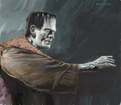 Cartoon: Son of Frankenstein (medium) by McDermott tagged frankenstein,boriskarloff,monsters,horror,movies,tv,scary