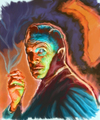 Cartoon: Painting of Vincent Price (small) by McDermott tagged vincent,price,horror,mcdermott,oldmovies,cinema,actors,classic,painting