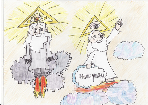 Cartoon: God takes his holiday (medium) by cristian constandache tagged univers,god,spirit,space,holiday,soul,creation,sky,human,machine,technique,triangle,eyes,light,art,culture,catoon,satire,symbol,ink,watercolor,draw,work,lines,humor,free,academy,graphic,paula,salar,romania,eu,america,teacher,cartoonschool,teach,tv,pc,exhibition,gallery,woman,genius,talented,little,young,love,life,happy,good,newspaper,show,competition,comic,illustration,master,man,star,music,dance,play,joke,funny,sketch,laugh,conema,artist,actor,movie,body,humanity,countries,careless,terra,boy,girl,discover