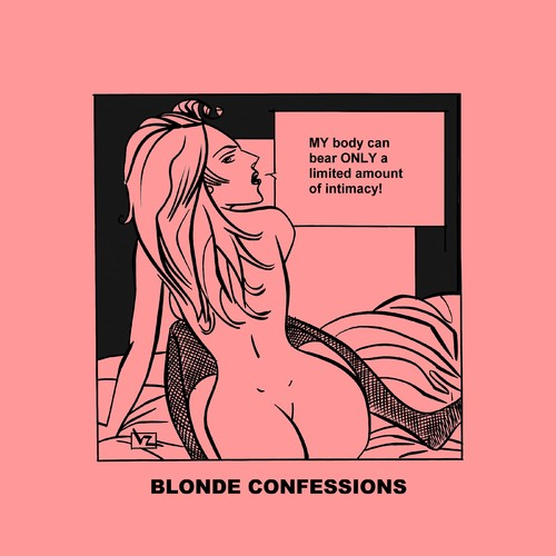 Cartoon: Blonde Confessions - Intimacy! (medium) by Age Morris tagged gs,boobs,hotbabe,dumbblonde,aboutloveandlife,agemorris,blondeconfessions,atomstyle,victorzilverberg,limitedamount,body,hotbody,intimacy,bear